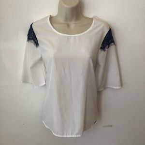 U.S Polo White 3/4 Sleeve Lace Top Blouse